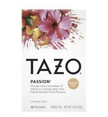 TAZO Passion Herbal Tea Caffeine Free 20ct FREE SHIPPING • 9.45£