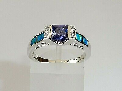 Ladies 925 Solid Silver Princess Cut Tanzanite Solitaire With Opal Accents Ring • 30.25£