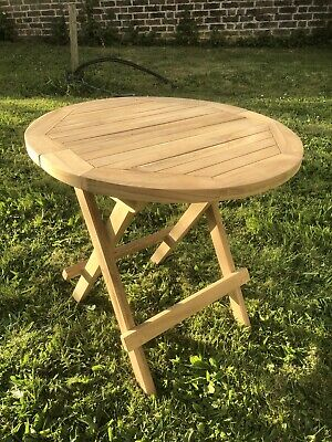 Wooden Round Folding Garden Patio Side Table - Coffee Snack Picnic Dining Drinks • 36.99£