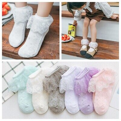 £3.48 • Buy Girls Baby Toddlers Embroidered Lace Trim Wedding Party School Ankle Socks 3m-8y