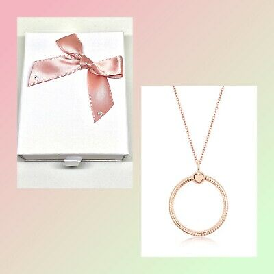 💎🎀 STERLING SILVER 925 ROSE GOLD MEDIUM O PENDANT & NECKLACE 45cm + GIFT BOX • 29.99£