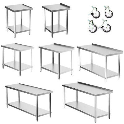 Stainless Steel Table Catering Work Bench Table Desk Kitchen Top With/no Wheels • 39.95£