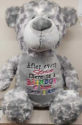 Personalised Rainbow Embroidered Teddy, After Every Storm, Ivf Baby Gift  • 22.95£