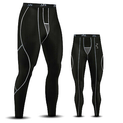 Mens Compression  Base Layer Tights Trousers Running Pants Leggings BLACK • 8.99£