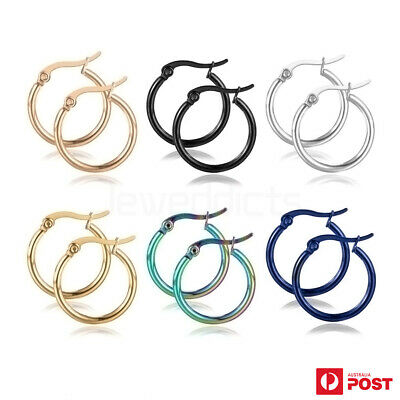 AU5.99 • Buy 1 Pair Hoop Earrings Surgical Steel Smooth Round Ear Studs Fashion Jewellery