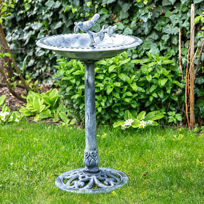 Bird Bath With Futterplatz, Garden/Balcony Dekobecken Smooth Stone Grey, H 85cm • 28.72£