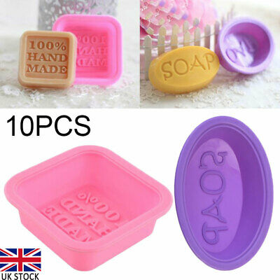 10x Square Oval Soap Mold Silicone Mould Fondant Baking Tray Homemade DIY Making • 7.08£