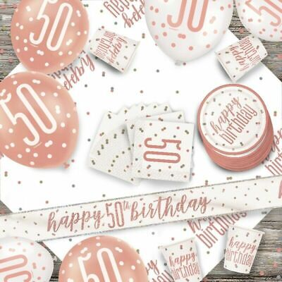 Glitz Rose Gold 50th Birthday Party Tableware Decoration Plates Banners Age50 • 1.97£