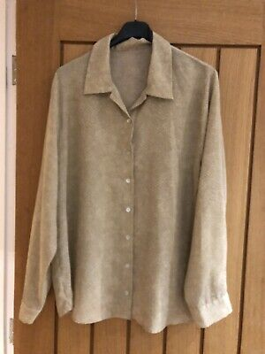 Ladies New Look Beige Blouse With Snakeskin Design Size 18 • 0.99£