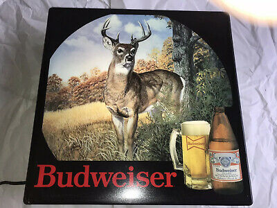 "$ CDN197.72 • Buy 1986 Vintage Budweiser  NEAR MINT  Buck Hunting Bar Pub Sign Light 18""x18x5"""