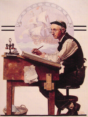 $ CDN5 • Buy DAY DREAMING BOOK KEEPER ACCOUNTANT  NORMAN ROCKWELL  8x10 Poster FINE ART Print