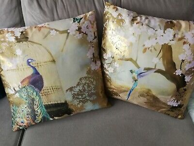 Double Sided Peacock Pattern Gold Foil Satin Cushion Cover 45 X 45cm / 18  X 18  • 14.99£
