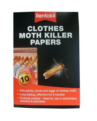 Rentokil Clothes Moth Killer Papers 10 Strips Pack Kills Adults, Larvae And Eggs • 3.95£
