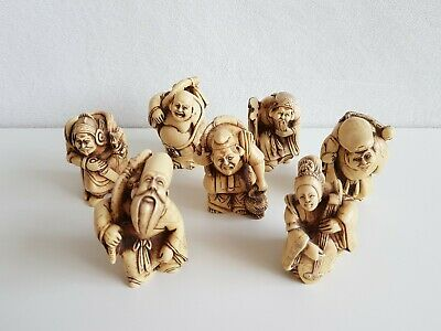 7 Vintage Hand Carved Netsuke Resin Chinese Japanese Old Man Figurines • 60£