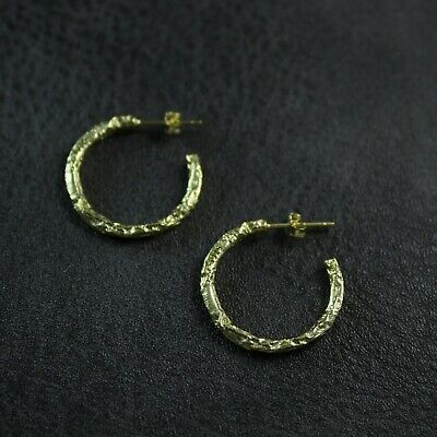 GENUINE 925 Sterling Silver Organic Finish Half Hoop Earrings UK New 2cm • 12.65£