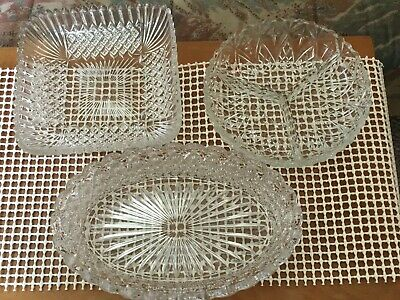 Pressed Glass Dishes X 3 /ideal Candy Buffet. Excellent Condition. • 4£