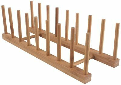 £11.68 • Buy 4x Bamboo Wooden Dish Rack Plate Stand Pot Lid Holder Cabinet Organizer Kitchen