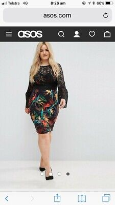 AU40 • Buy Asos Curve Uk 26 Emas Print And Lace Overlay Pencil Dress