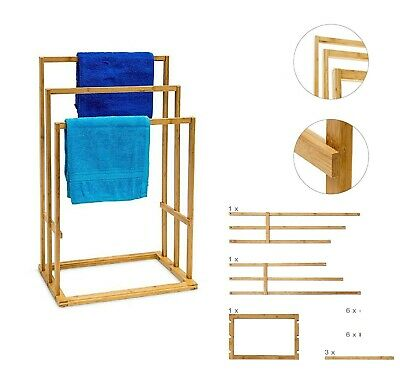 Bamboo Wooden Towel Holder Rail Free Stand Drying Rack 3 Tier Clothes Airer New • 19.99£