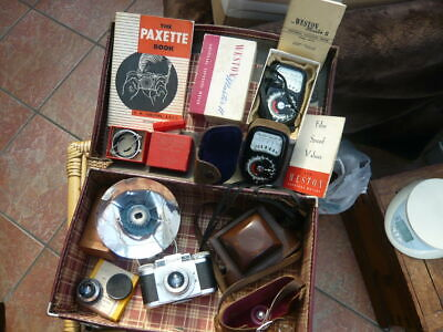 Job Lot Old Vintage Camera Items Braun Paxette Wetzler Weston Meters Handcross • 49.99£