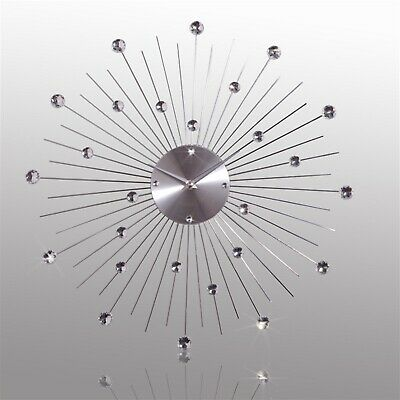 GLAMOUR WALL CLOCK  CRYSTAL SUN    Silver, Ø19.5    Stainless Steel Clock • 35.90£