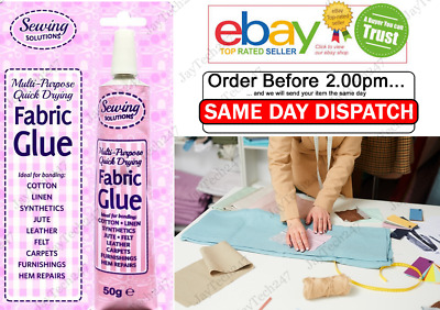 Fabric Glue Textile Hemming Adhesive Bond Quickly Craft Sew Quick STRONG • 2.60£