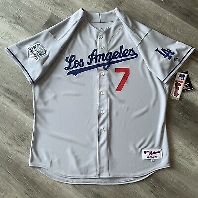 $225 • Buy Authentic Steve Yeager 56 Los Angeles Dodgers Majestic Jersey Throwback 50th New