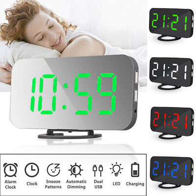 AU28.01 • Buy Modern Digital LED LCD Mirror Alarm Clock Dimmable USB Light Time Bedside New