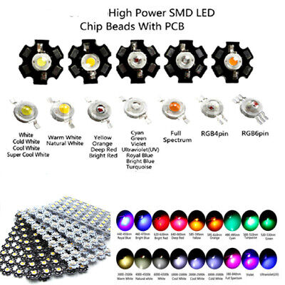 AU9.86 • Buy 1W Watts High Power SMD COB LED Chip Lights Beads White Red Yellow RGB With PCB