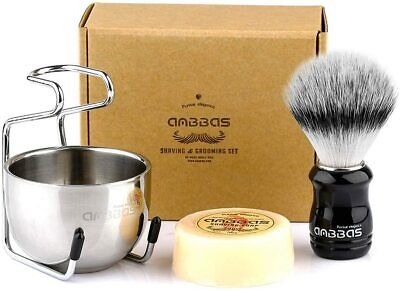 Anbbas Shaving Brush Set, 4in1 Vegan Style Synthetic Badger Hair For Men Shave • 11.99£