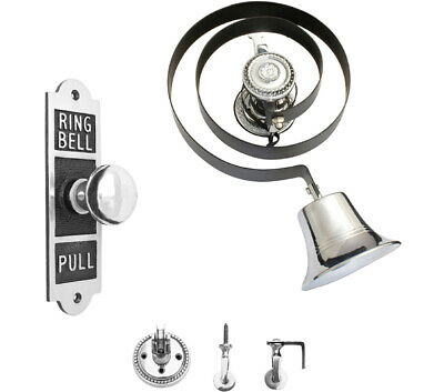 Victorian Butlers Bell Kit  Rectangulal Chrome Pull ,Rope ,Chrome Bell & Pulleys • 75£