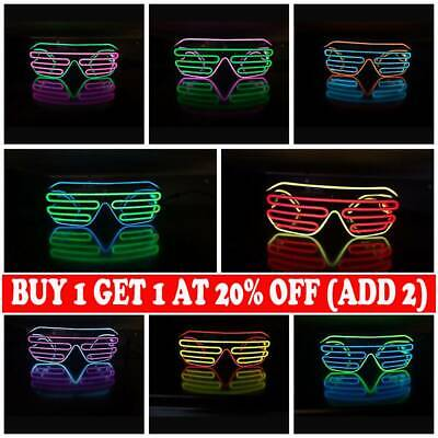 LED Shutter Shades Flashing Glasses Rave Club Party Fancy Dress Light Up AD • 6.39£