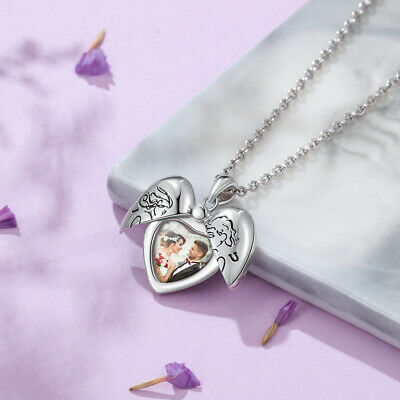 Personalized Photo Necklace Engraved Silver Locket Pendant Xmas Gift For Her • 13.99£