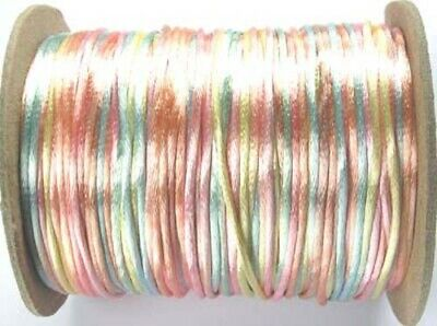 5m Pastel Mix Satin Rattail Knotting Cord  - 2mm - Beadsmith - Made In USA • 1.10£