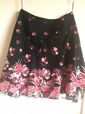JANE NORMAN Black Cotton Floral Skirt With Net Underskirt  Size 14 • 4.50£