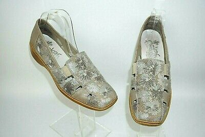 Rieker Taupe / Pewter Leather Slip On Shoes Uk Size 7. Eu40 • 14.99£