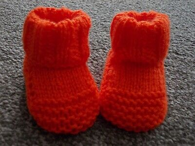 New - Hand Knitted Baby Bootees - Orange - Size Newborn • 1.95£