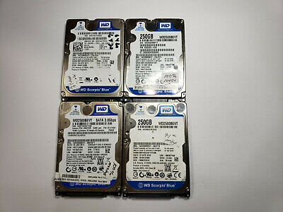 $ CDN62.70 • Buy LOT OF 4 Western Digital 250GB Laptop SATA Hard Drive WD2500BEVT TESTED