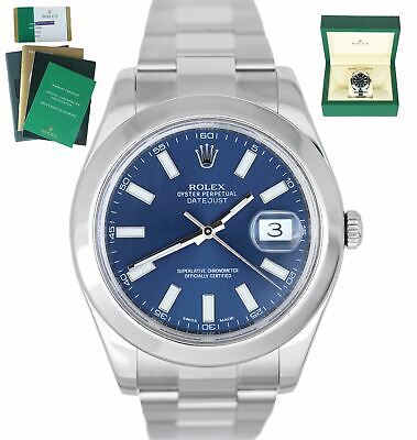 $ CDN10858.24 • Buy MINT 2015 Rolex DateJust II 41mm 116300 Blue Smooth Stainless Steel Oyster Watch