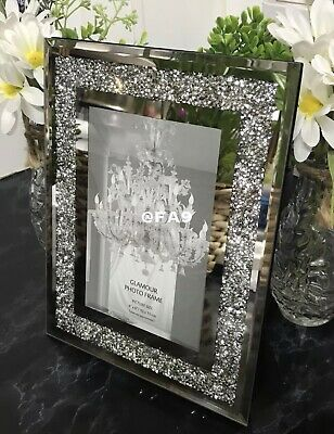 £13.89 • Buy New 4x6 Glamorous Mirror Crushed Diamond Glass Mirrored Photo Frame Home Gift