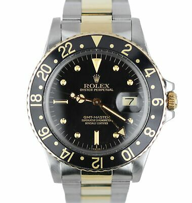 $ CDN12352.07 • Buy Vintage 1978 Rolex GMT-Master 16753 Black Nipple Two-Tone Gold Stainless 40mm