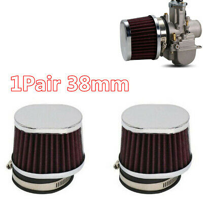 £16.89 • Buy 2Pcs 38mm High Airflow Motorcycle Air Filter Engine Intake Dust Cleaner Pod Cone