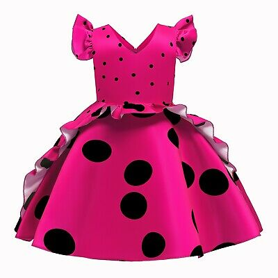 Kid's Polka Dot Retro Princess Dress Wedding Flower Girl Formal Gown Xmas Gift • 17.99£