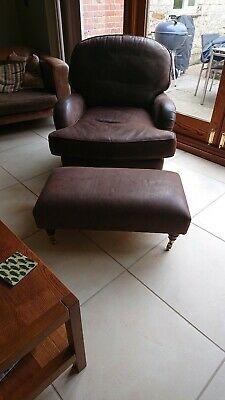 Leather Club Chair And Matching Foot Stool. • 185£