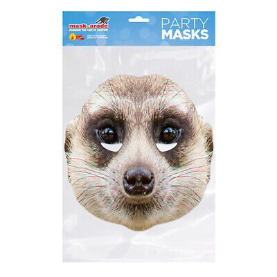 Meerkat Party Mask - Face Card A4 Fancy Dress Ladies Mens Mask-Arade Animal • 2.99£