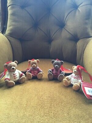 Harrods Resin Christmas Bears Collection Of 4 Bears BNWT • 20£
