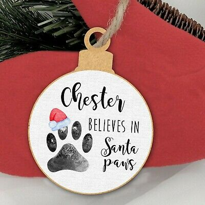 Personalised Dog Cat Paw Print Bauble Pet Names Christmas Tree Decoration Xmas • 3.99£