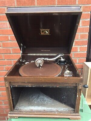 Vintage HMV Gramophone Record Player - Wind Up - Wooden Turntable His Masters Vo • 33£