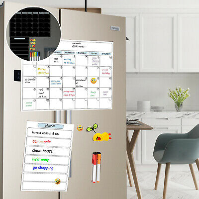 AU27.99 • Buy A3 + A4 Magnetic Fridge Calendar Month And Day Gym Grocery Meeting Due Planner