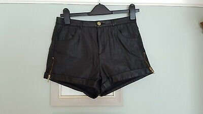 Topshop Vintage 70s/80s Look Pvc/faux Leather Shorts Uk 10 High Waisted/punk • 4.99£